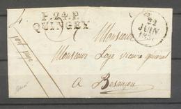 1831 Lettre Marque P24P/QUINGEY, 36x11, Type Rare DOUBS(24) X4674 - Marcophilie (Lettres)