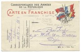 CARTE EN FRANCHISE / CORRESPONDANCE DES ARMEES DE LA REPUBLIQUE / 1914 / 10° BATAILLON DE CHASSEURS - Marcophilie (Lettres)