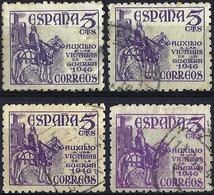 Spain 1949 - El Cid ( Mi ZC 48a/48b - YT 784/84a ) Four Shades Of Color - 1931-50 Used