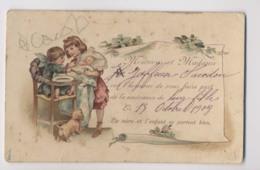 FAIRE-PART De NAISSANCE - Famille Jaffeuse - Bébé 1908 - Chaise Pour Bébé - Illustration - CPA Gaufrée - Naissance