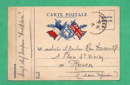 Militaria Guerre 1939 - 45 Carte Postale De Franchise Militaire Voyagée Le 24 - 10 - 1939 - Militaire Kaarten Met Vrijstelling Van Portkosten