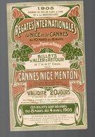 Cannes, Nice, Menton (06 ALpes Maritimes) Horaire Des Régates Internationales 1905 ( Chemins De Fer PLM (PPP10051) - Europe