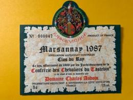 9335 -Marsannay 1987 Domaine Charles Audoin Confrérie Des Chevaliers Du Tastevin - Bourgogne