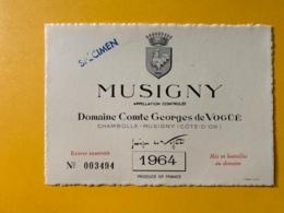 9338 - Musigny 1964 Domaine Comte Georges De Vogüë Spécimen - Bourgogne