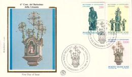 FDC CITTA' VATICANO 6°CENT.DEL BATTESIMO DELLA LITUANIA 2-VI-1987 FILAGRANO. - FDC