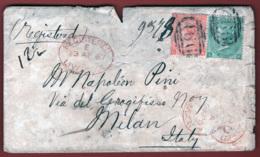 Gran Bretagna 1867 1sh. + 4p. Unif. 31+32 Su Busta Da Liverpool A Milano 13/04/67 F - Storia Postale