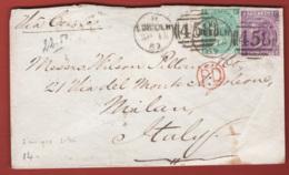 Gran Bretagna 1869 6p. + 1 Sh. Unif. 34A+37 Su Busta Da Londra A Milano 16/09/69 VF/F - 1840-1901 (Regina Victoria)