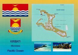 1 AK Kiribati * Flagge, Wappen Und 2 Ansichten Von Kiribati - Landkarte Der Insel Kiritimati Vormals Christmas Island * - Kiribati