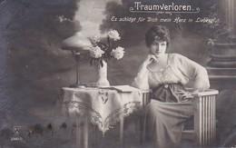 AK Traumverloren - Frau Mit Blumen - Feldpost Leipzig 1918 (38429) - Frauen