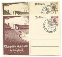 "DR Ganzsachen P259 & P260 Olympia Berlin 1936 Je Sonderstempel ""Fahrbares Postamt"" - Germany"