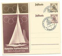 "DR Ganzsachen P261 & P262 Olympia Kiel 1936 Je Sonderstempel ""Fahrbares Postamt"" - Germany"