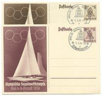 """DR Ganzsachen P261 & P262 Olympia Kiel 1936 Je Sonderstempel """"Grünau Regattabahn"""" - Deutschland"""