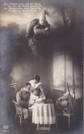 AK Den Kolben Hoch Und Mit Hurra - Soldat I Angriff U M Familie - Patriotika - Bahnpost Magdeburg-Zerbst-Leipzig (38431) - Guerre 1914-18