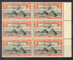 A27 - Egypt - 1933 - Airmail - SG 195 Bloc Of 6 MNH - Plane Handley Page HP42 Over Pyramids - Luchtpost