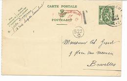 """Entier Postal """"petit Sceau"""" 35c TURNHOUT 1939  Taxé 5c à La Machine Vers BRUXELLES  Voir 2 Scans - Entiers Postaux"""