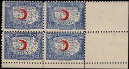 Turkey 1938-43 ½k Red Cross Perf 10 DEVLET Block Of 4 Unmounted Mint. - 1921-... Republic