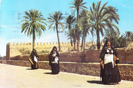 MOROCCO : 1988 PICUTURE POST CARD COMMERCIALLY USED : BOOKED FROM MARRAKECH FOR GERMANY : WOMEN WALKING - Morocco (1956-...)