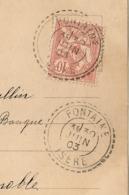 Facteur Boitier FONTAINE Isère Sur CP Au Type Mouchon. - 1877-1920: Semi-moderne Periode
