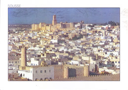 TUNISIA : PICUTURE POST CARD COMMERCIALLY SENT TO GERMANY : SOUSSE - VIEW OF THE MEDINA AND ITS RAMPARTS - Tunisia