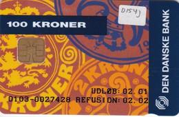 Denmark, DD 154j, Coins, Mastercard, Only 2500 Issued, 2 Scans.   Chip DK-D7 - Danemark