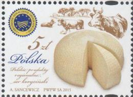 POLAND, 2015, MNH, FOOD, CHEESE, COWS, 1v - Food