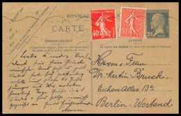 4351 Pasteur 20c Complement Mixte / Compose Nice Berlin Carte Postale France Entier Postal Stationery - Cartes Postales Types Et TSC (avant 1995)