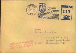 """1959, Blauer Absenderfreistempel """"III. Deutsches Turn- Und Sportfest"""" Leipzig - Lettres"""
