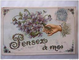 Carte Gaufrée  Embossed Pensez à Moi Bouquet De Violettes CPA - Non Classés