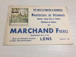 Buvard Ancien MANUFACTURE DE VÊTEMENTS MARCHAND FRÈRES LENS - Textile & Clothing