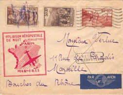 POSTE Aerienne - 1 ére Liaison Aéropostale De Nuit  -25 Juillet 1939 -  PARIS MARSEILLE - Postmark Collection (Covers)