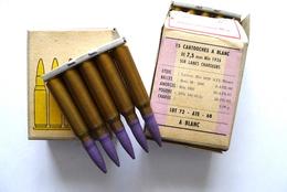 BOITE DE 15 CARTOUCHES A BLANC DE 7,5 Mm Mle 1936 SUR LAMES CHARGEURS. - Armes Neutralisées