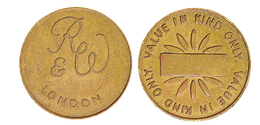 00446 GETTONE TOKEN JETON FICHA MACHINE RUFFLER & WALKER LONDON VALUE IN KIND ONLY - Pays-Bas