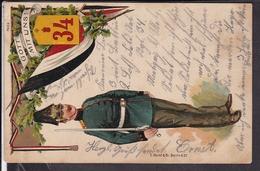Regimentskarte  34.Feld Artillerie Regt. Montigny , Metz 1907 - Régiments