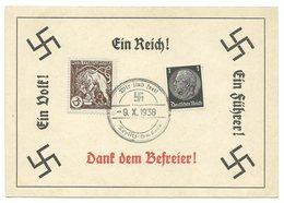 """Deutsches Reich Sudetenland Sonderkarte """"Wir Sind Frei"""" 1939 TEPLITZ-SCHÖNAU - Ganzsachen"""