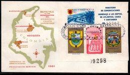 COLOMBIA- KOLUMBIEN - 1961.FDC/SPD.  S/S  CAUCA, ATLANTICO AND DANTANDER DPTS. HERALDIC, RELIGIOUS,LANDSCAPES - Kolumbien