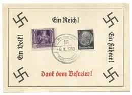 """Deutsches Reich Sudetenland Sonderkarte """"Wir Sind Frei"""" 1939 TEPLITZ-SCHÖNAU (2) - Ganzsachen"""
