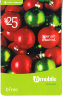 ST. VINCENT & THE GRENADINES - Christmas Balls, B Mobile By C&W Prepaid Card $25, Used - St. Vincent & The Grenadines