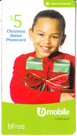 ST. VINCENT & THE GRENADINES - Christmas Gift, B Mobile By C&W Bonus Prepaid Card $5, Used - Saint-Vincent-et-les-Grenadines