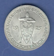 Dt. Reich Gedenkmünze 1000 Jahre Rheinlande 3 Mark 1925 A Vorzügl-stempelgl. - [ 3] 1918-1933: Weimarer Republik