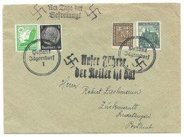 """Deutsches Reich Sudetenland Brief """"Am Tage Der Befreiung"""" 1939 POSTAMT JÄGERNDORF - Germany"""