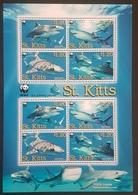 DE23 - St.kitts & Nevis 2007 Marine Life Tiger Sharks WWF MNH Mi.955-58 Full Sheet - St.Kitts And Nevis ( 1983-...)