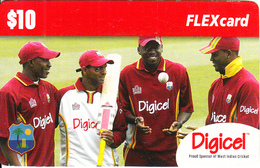 ST. VINCENT & THE GRENADINES - West Indies Cricket Team, Digicel Recharge Card $10, Exp.date 09/02/10, Used - San Vicente Y Las Granadinas