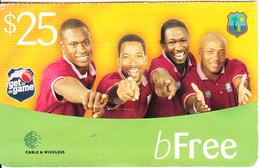 ST. VINCENT & THE GRENADINES - West Indies Cricket Team, C&W Prepaid Card $25, Used - San Vicente Y Las Granadinas