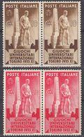 ITALIA - 1933 - Due Coppie Per Complessivi 4 Valori Nuovi MNH: Yvert 321/322, Come Da Immagine. - 1900-44 Victor Emmanuel III.