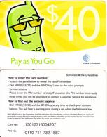 ST. VINCENT & THE GRENADINES - Pay As You Go, C&W Prepaid Card $40(thick), Used - Saint-Vincent-et-les-Grenadines