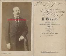 CDV En 1874-capitaine En Retraite-dédicacée Et Signée- Photo G. Prévot Rue Du 4 Septembre à Paris - Guerre, Militaire