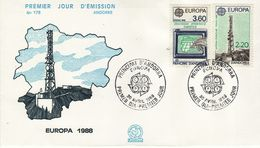 FRENCH ANDORRA  1988 EUROPA CEPT   FDC - Europa-CEPT