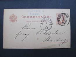 GANZSACHE Tarnow - Sternberg 1883 Johann Schützer Korrespondenzkarte////  D*35945 - 1850-1918 Imperium