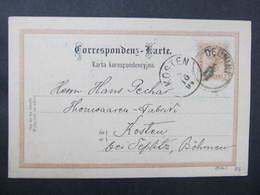 GANZSACHE Debniki - Kosten 1894Fabryka Piecow Kaflowych  Korrespondenzkarte ////  D*35949 - Briefe U. Dokumente