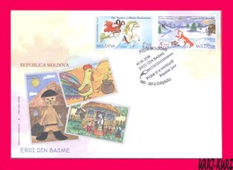 MOLDOVA 2018 Art Paintings Fairy Tales In Children Drawings Childrens Day Mi1051-1052 Sc987-988 FDC - Moldova